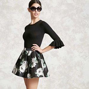 Floral box pleat skirt